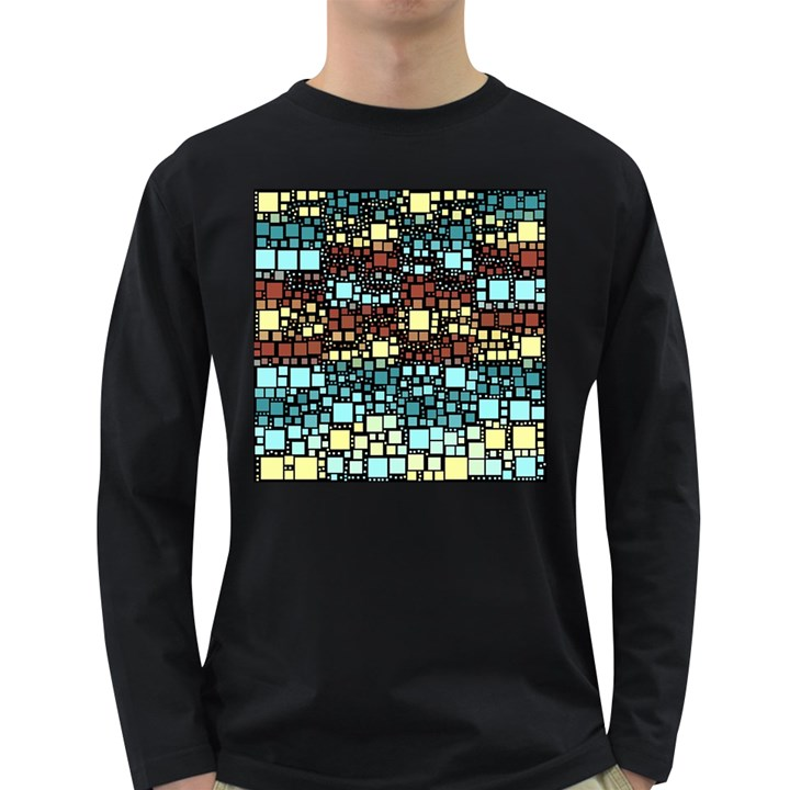 Block On Block, Aqua Long Sleeve Dark T-Shirts