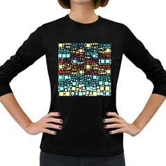 Block On Block, Aqua Women s Long Sleeve Dark T-Shirts