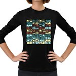 Block On Block, Aqua Women s Long Sleeve Dark T-Shirts Front
