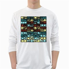 Block On Block, Aqua White Long Sleeve T-Shirts
