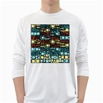 Block On Block, Aqua White Long Sleeve T-Shirts Front