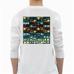 Block On Block, Aqua White Long Sleeve T-Shirts Back