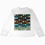 Block On Block, Aqua Kids Long Sleeve T-Shirts Front