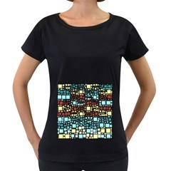 Block On Block, Aqua Women s Loose-Fit T-Shirt (Black)