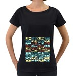 Block On Block, Aqua Women s Loose-Fit T-Shirt (Black) Front