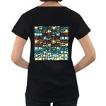 Block On Block, Aqua Women s Loose-Fit T-Shirt (Black) Back