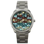 Block On Block, Aqua Sport Metal Watch Front