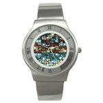 Block On Block, Aqua Stainless Steel Watch Front