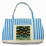 Block On Block, Aqua Striped Blue Tote Bag Front