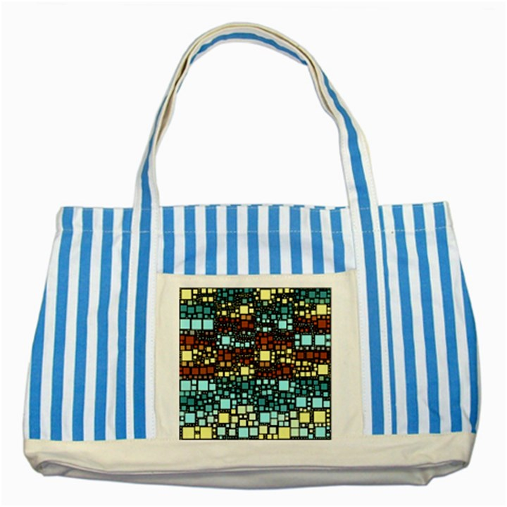 Block On Block, Aqua Striped Blue Tote Bag