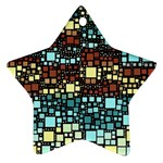 Block On Block, Aqua Star Ornament (Two Sides)  Front