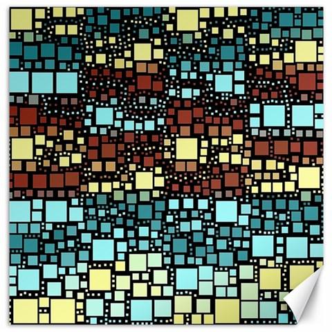 Block On Block, Aqua Canvas 16  x 16