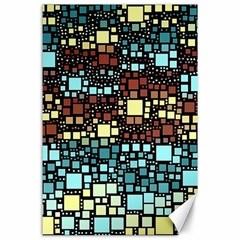 Block On Block, Aqua Canvas 24  x 36