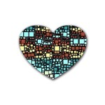 Block On Block, Aqua Rubber Coaster (Heart)  Front