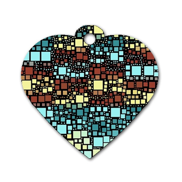 Block On Block, Aqua Dog Tag Heart (One Side)