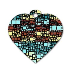 Block On Block, Aqua Dog Tag Heart (Two Sides)