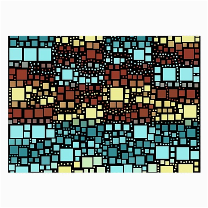 Block On Block, Aqua Large Glasses Cloth