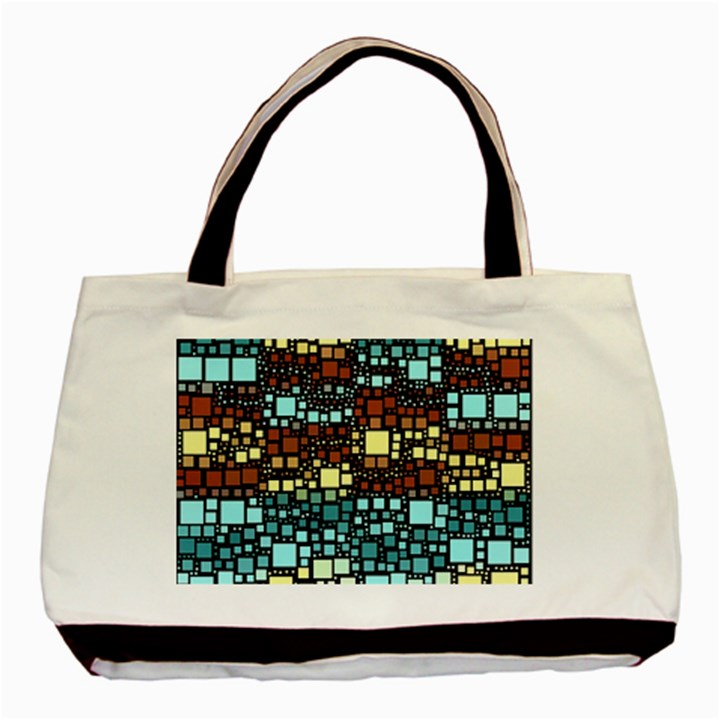 Block On Block, Aqua Basic Tote Bag (Two Sides)