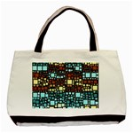 Block On Block, Aqua Basic Tote Bag (Two Sides) Back