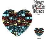 Block On Block, Aqua Multi-purpose Cards (Heart)  Back 5