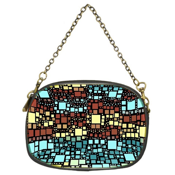 Block On Block, Aqua Chain Purses (One Side)