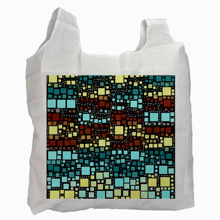 Block On Block, Aqua Recycle Bag (Two Side)
