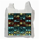 Block On Block, Aqua Recycle Bag (Two Side)  Back