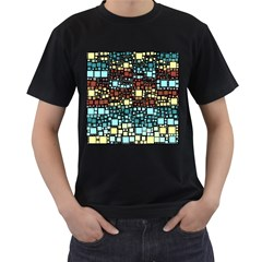 Block On Block, Aqua Men s T Shirt (black)