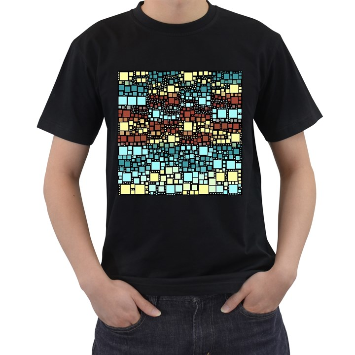 Block On Block, Aqua Men s T-Shirt (Black)