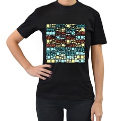 Block On Block, Aqua Women s T Shirt (black)