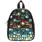 Block On Block, Aqua School Bags (Small)  Front