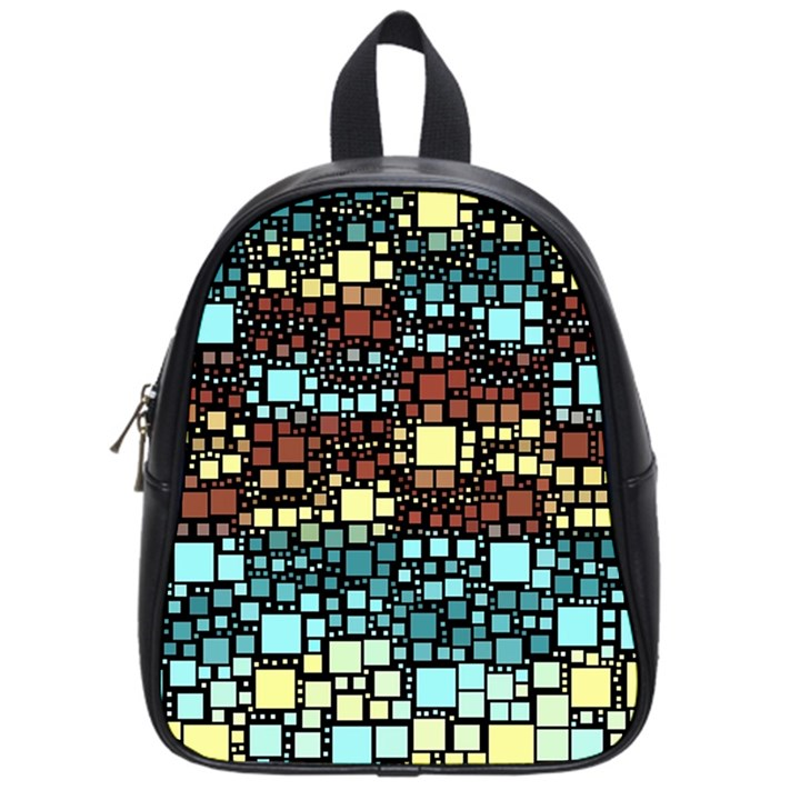 Block On Block, Aqua School Bags (Small)