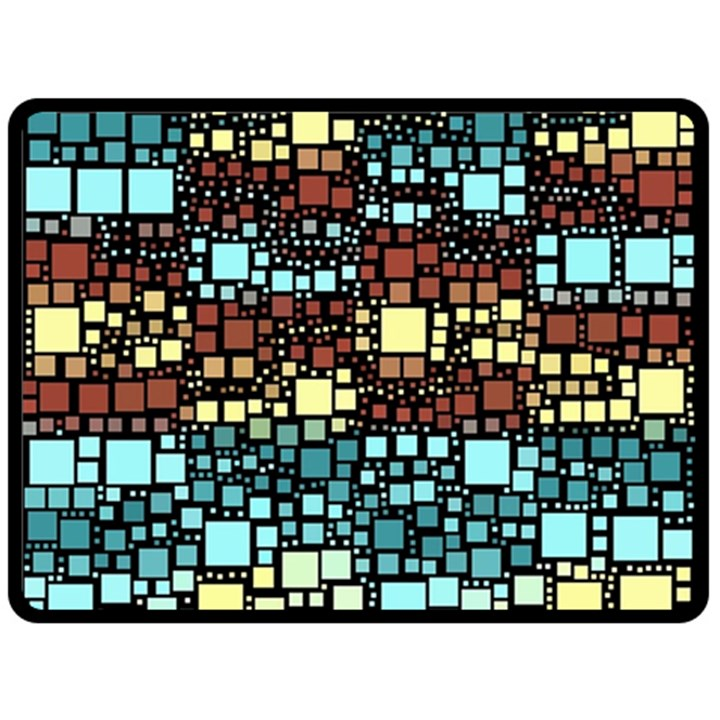 Block On Block, Aqua Fleece Blanket (Large)