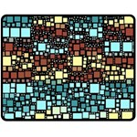 Block On Block, Aqua Fleece Blanket (Medium)  60 x50 Blanket Front