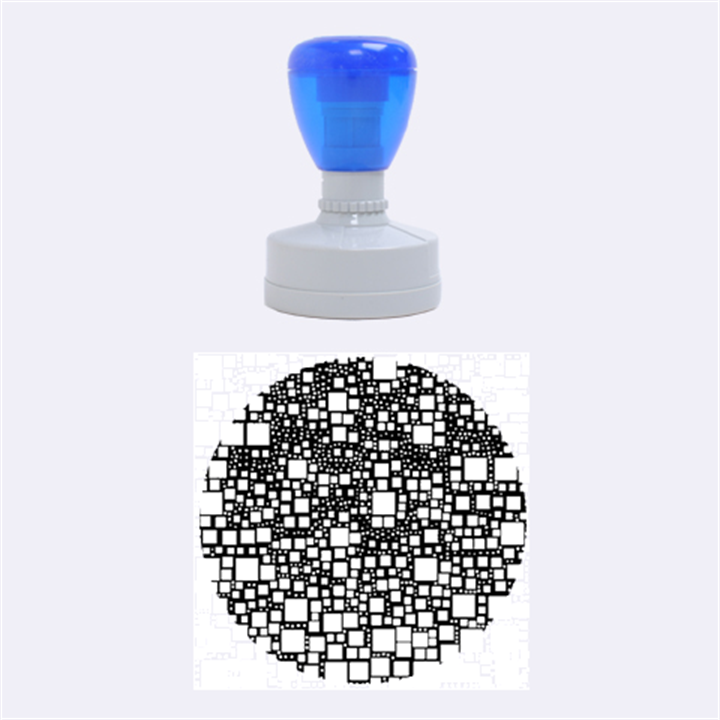 Block On Block, Aqua Rubber Round Stamps (Medium)