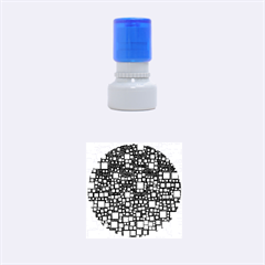 Block On Block, Aqua Rubber Round Stamps (Small)