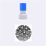 Block On Block, Aqua Rubber Round Stamps (Small) 1.12 x1.12  Stamp