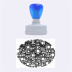 Block On Block, Aqua Rubber Oval Stamps