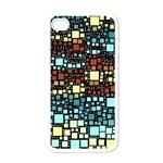 Block On Block, Aqua Apple iPhone 4 Case (White) Front