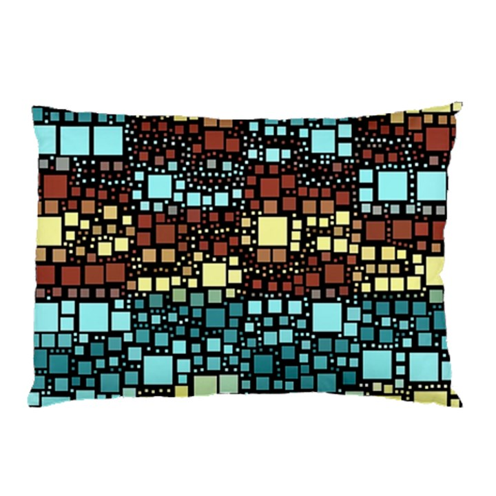 Block On Block, Aqua Pillow Case (Two Sides)
