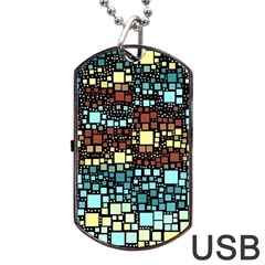 Block On Block, Aqua Dog Tag Usb Flash (two Sides)