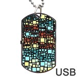 Block On Block, Aqua Dog Tag USB Flash (Two Sides)  Front