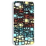 Block On Block, Aqua Apple iPhone 4/4s Seamless Case (White) Front