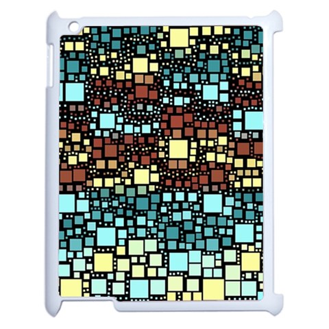 Block On Block, Aqua Apple iPad 2 Case (White)