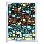 Block On Block, Aqua Apple iPad 2 Case (White) Front