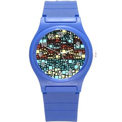 Block On Block, Aqua Round Plastic Sport Watch (s)