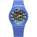 Block On Block, Aqua Round Plastic Sport Watch (S) Front