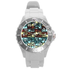 Block On Block, Aqua Round Plastic Sport Watch (L)