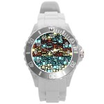 Block On Block, Aqua Round Plastic Sport Watch (L) Front
