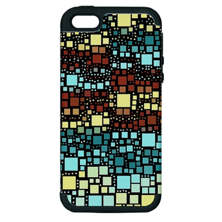Block On Block, Aqua Apple iPhone 5 Hardshell Case (PC+Silicone)